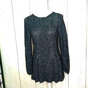 CUPIO Petite Cable Knit Peplum Black Metallic Sweater Lg